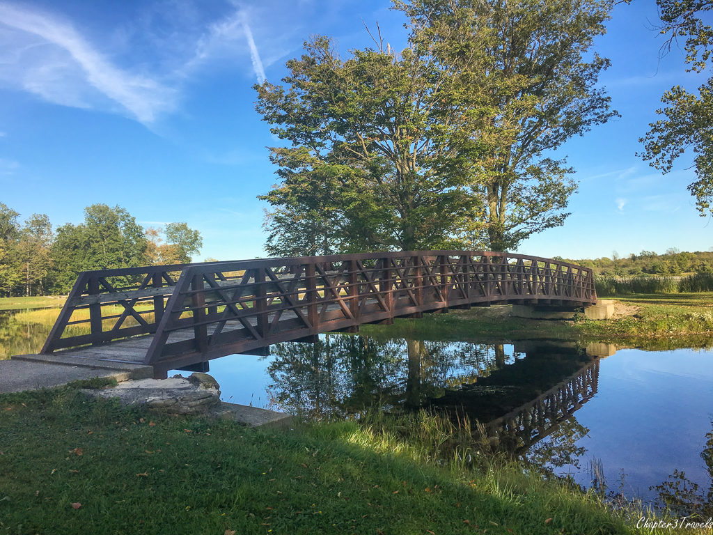 Pedestrian bridge at Darien Lake State Park, New York