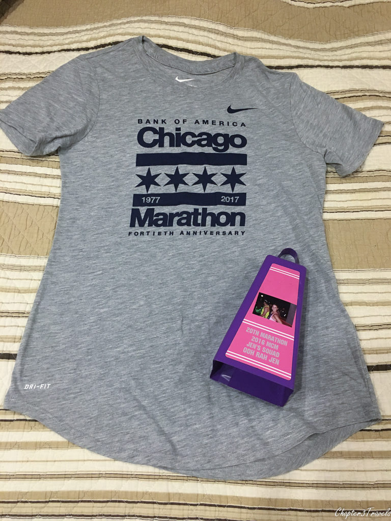 Chicago marathon T-Shirt and cowbell