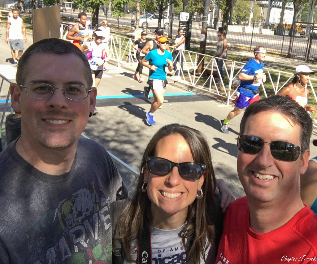 Kevin, Laura, and Jeremy on the sidelines of the 2017 Chicago Marathon