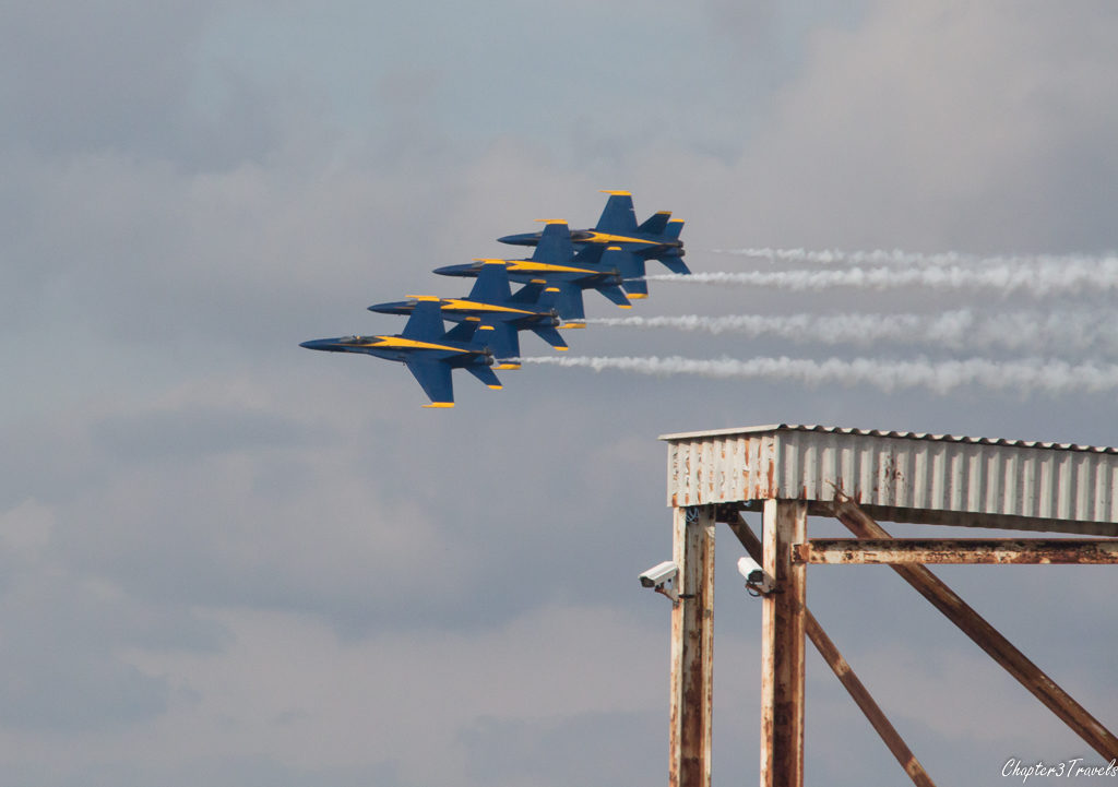 Blue Angels jets flying in tight formation