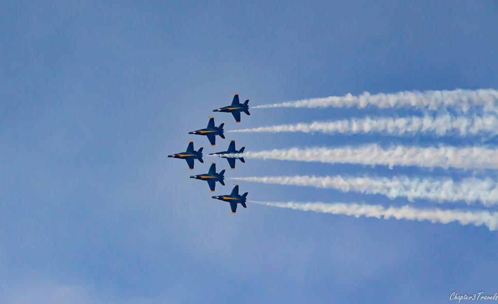 Blue Angels flying in Delta formation