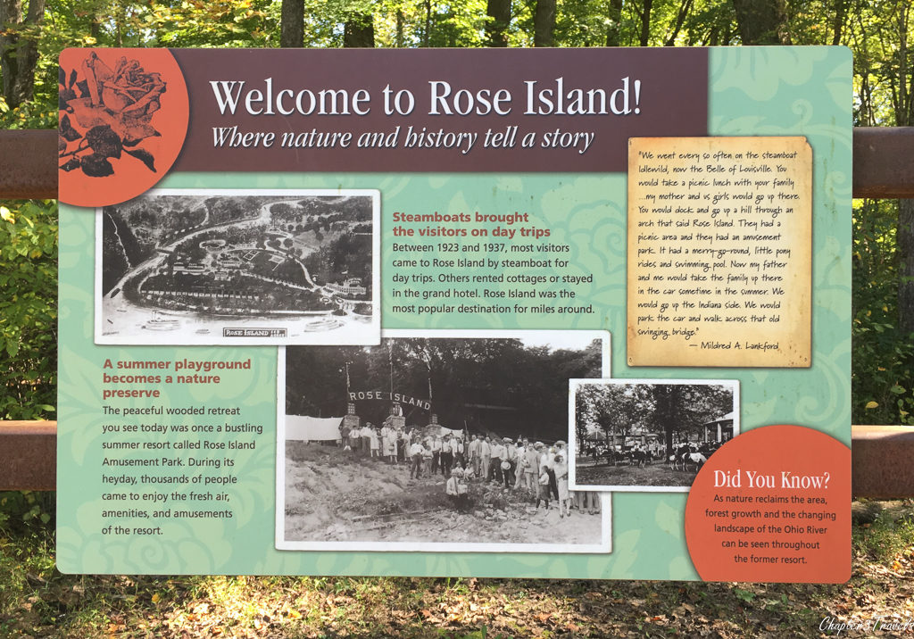 Sign for Rose Island at Charlestown State Park, Indiana