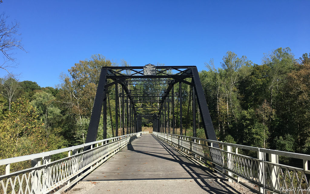 The bridge leading to Rose Island at Charlestown State Park in Indiana