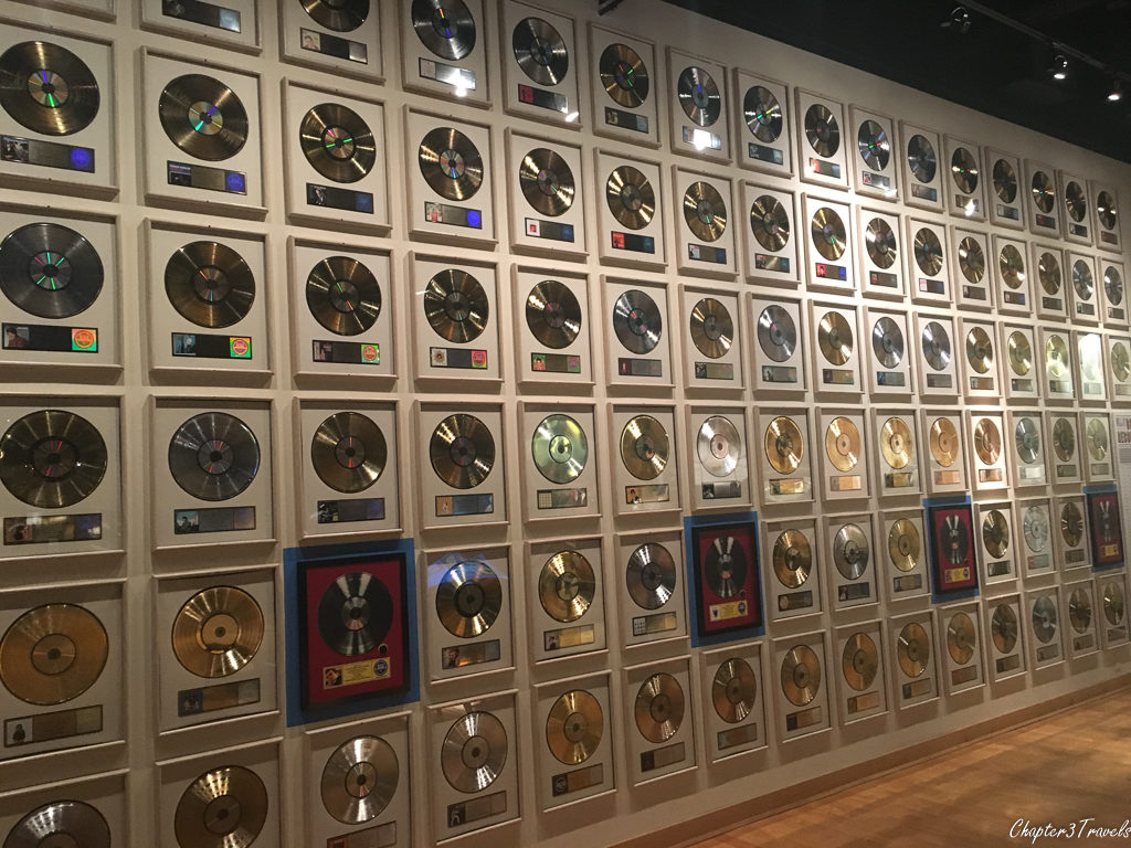 Wall of gold records at the Country Music Hall of Fame