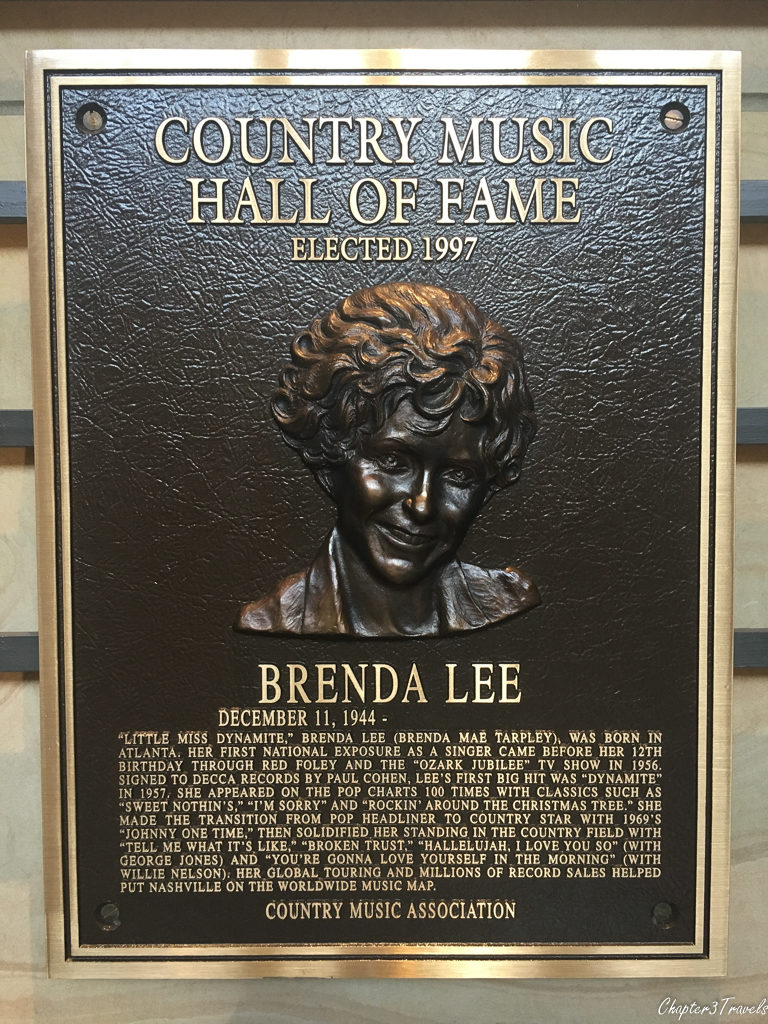 Country Music Hall of Fame plaque for Brenda Lee
