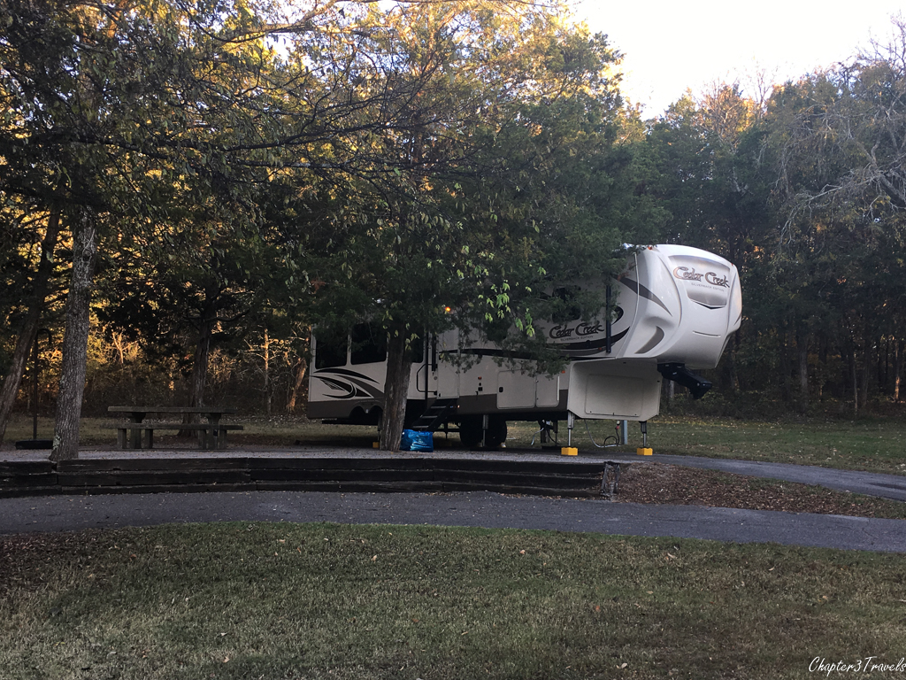 A campsite at Seven Points Campground in Hermitage, Tennessee