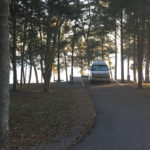 A campsite with a water view at Seven Points Campground outside Nashville, Tennessee