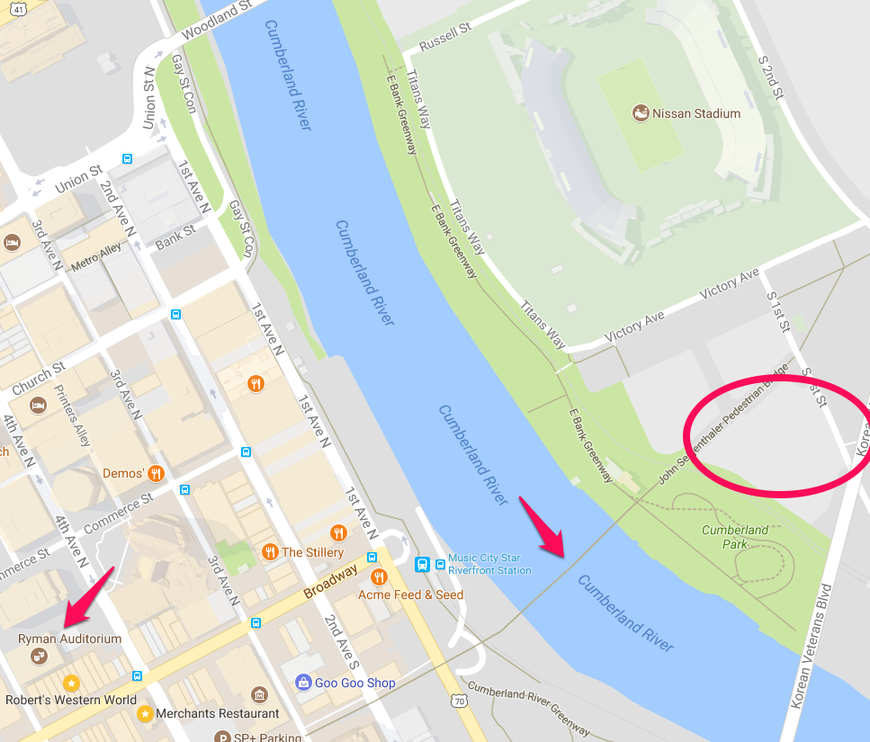 Map of Nashville showing Lot R, the pedestrian bridge to downtown, and the Ryman Auditorium