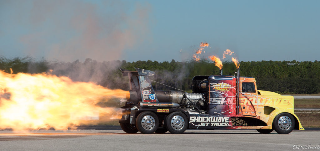 Shockwave Jet truck shooting flames from jet engines