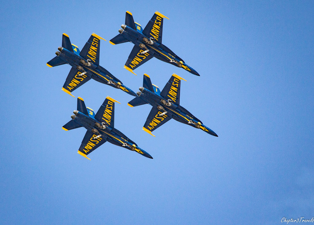 U.S. Navy Blue Angels flying in tight formation