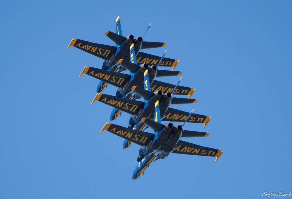 U.S. Navy Blue Angels - 4 jets stacked on top of one another