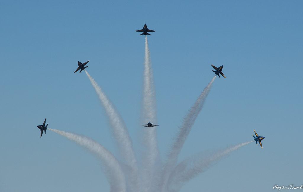 Blue Angels in starburst at end of program