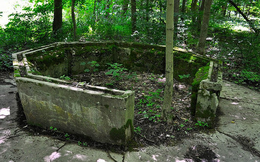 The foundation of a small building from the Rose Island Amusement Park, Charlestown, Indiana