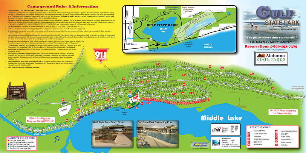 Campground map for Gulf State Park in Gulf Shores, Alabama
