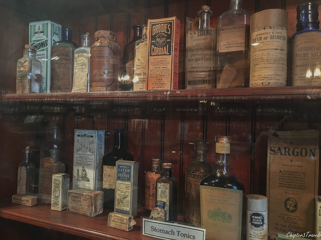 Medications on display at the pharmacy museum in New Orleans