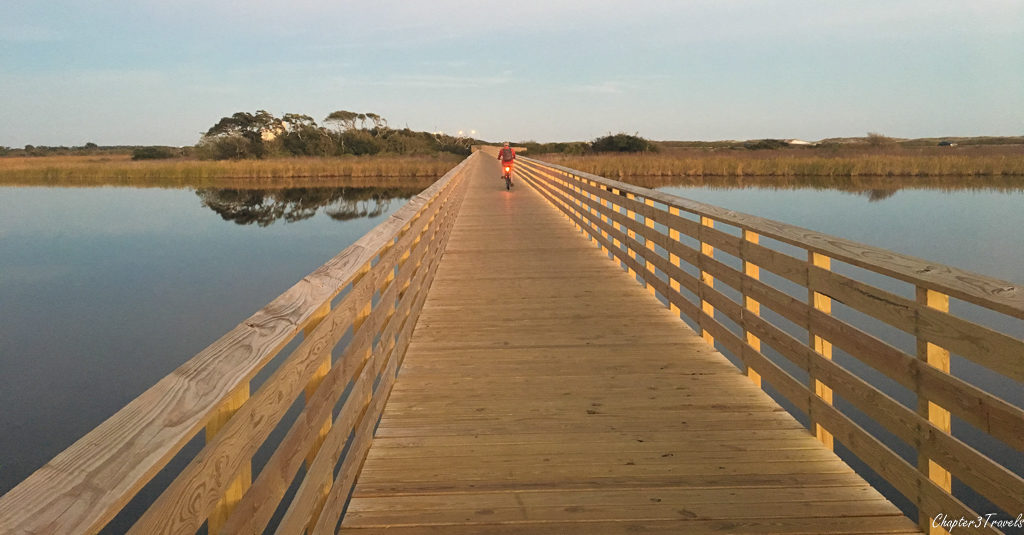 Boardwalk crossing Lake Shelby at Gulf State Park, Gulf Shores, Alabama