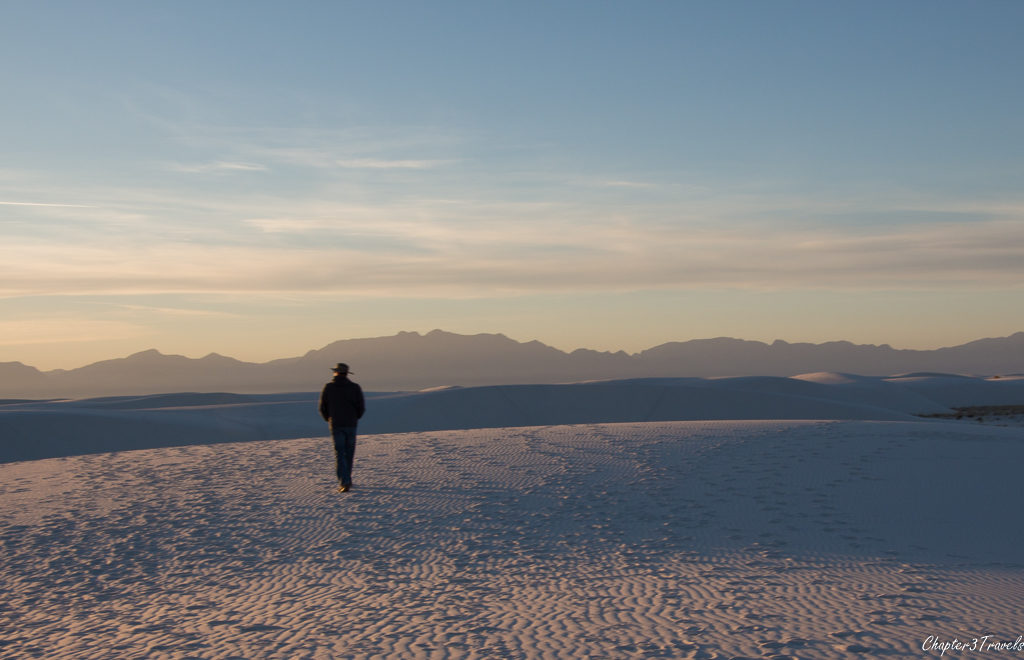 Kevin walking in the dunes at White Sands National Monument