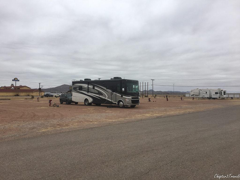 RV in empty parking lot in Van Horn, Texas