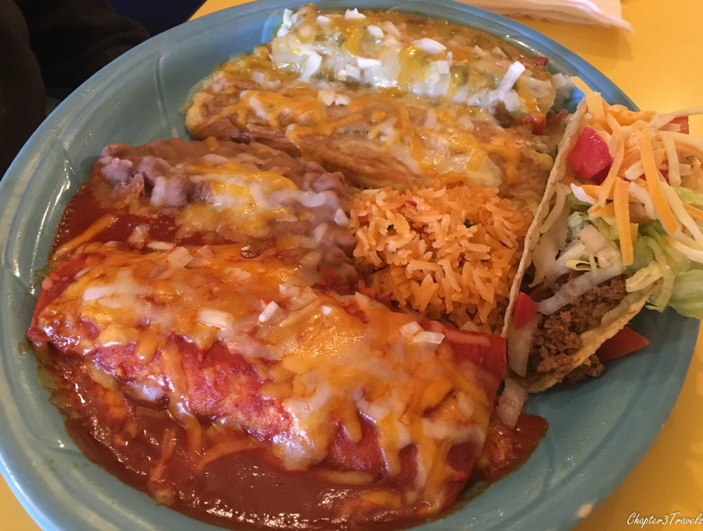 Enchiladas with red and green sauce at the Pepper Pot in Hatch, New Mexico