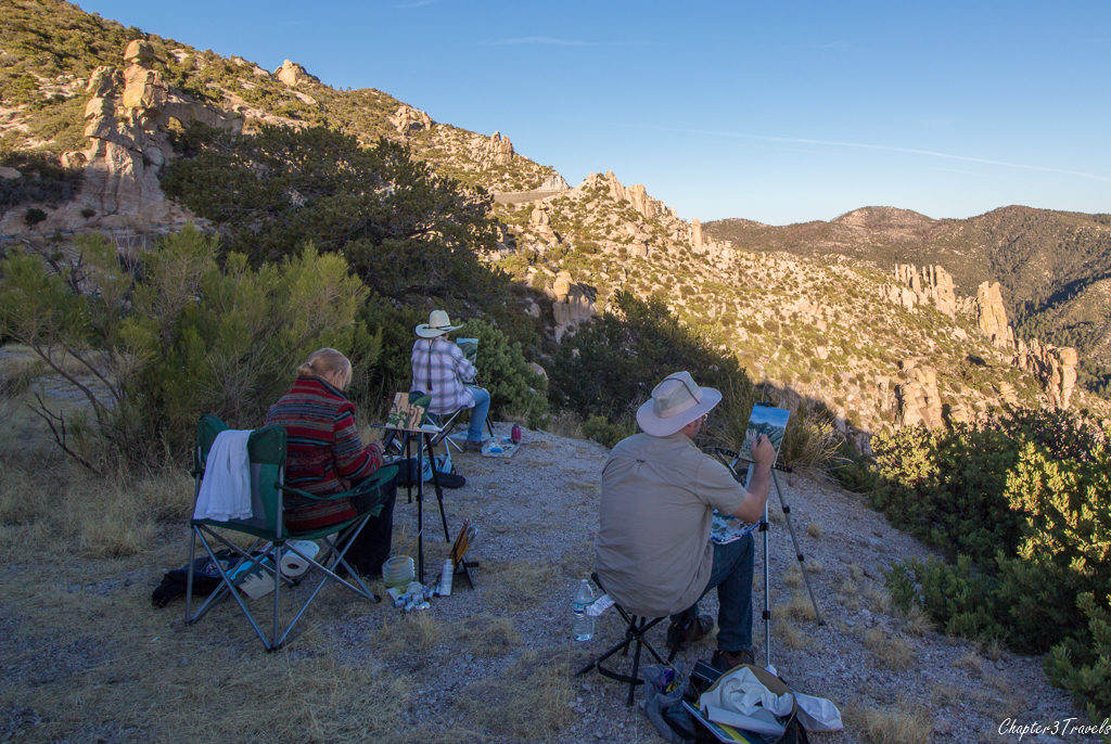 Painters painting the views from Mount Lemmon in Tucson, Arizona