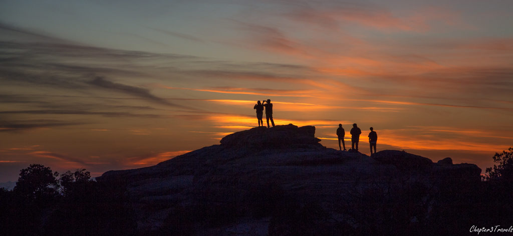 People watching the sunset at Mount Lemmon in Tucson, Arizona