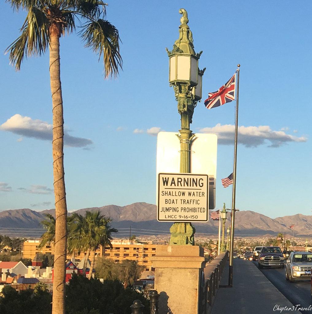 Sign on the London Bridge in Lake Havasu, Arizona