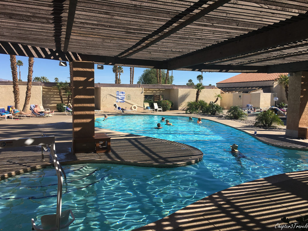 Swimming pools at Sky Valley Resort in Desert Hot Springs, California