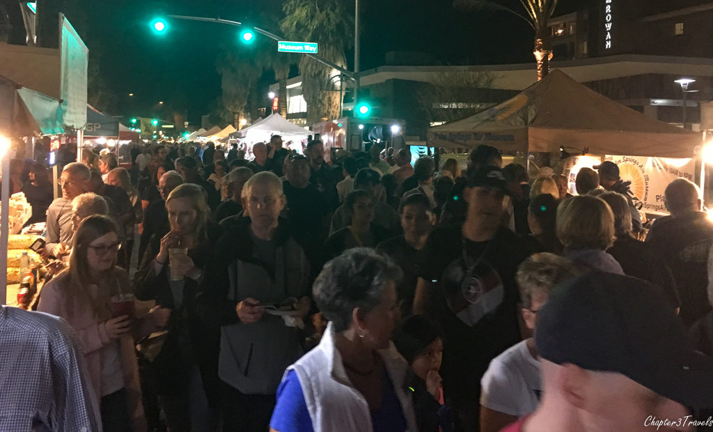 Crowds at the Palm Springs VillageFest street fair, Palm Springs, California