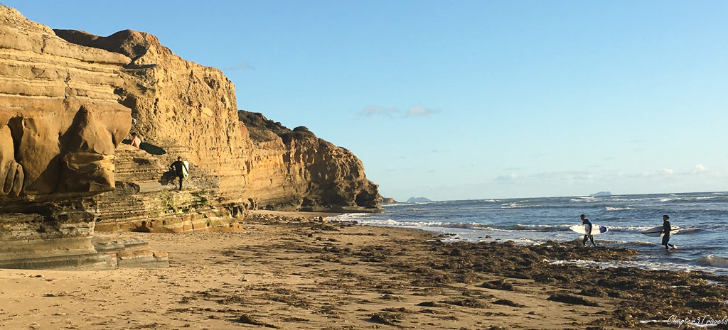 Surfers at Sunset Cliffs Park in San Diego, California