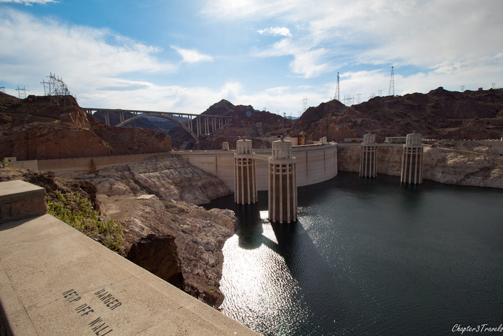 View of the Hoover Dam from Arizona parking lot