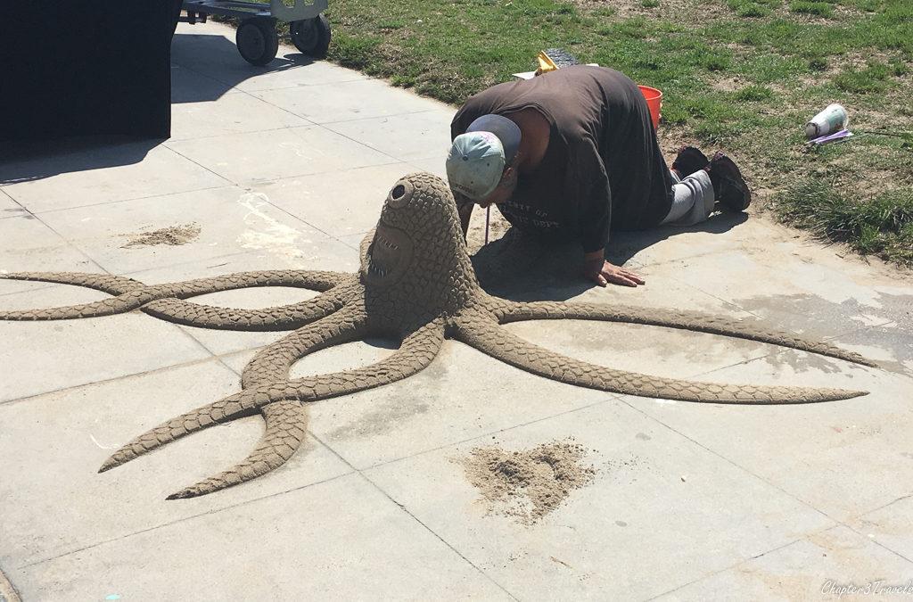 Sand sculpture artist on the Venice Beach boardwalk