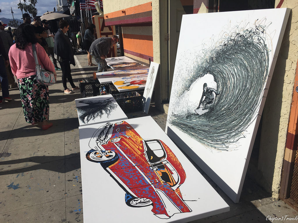 Artwork for sale along the Venice Beach boardwalk