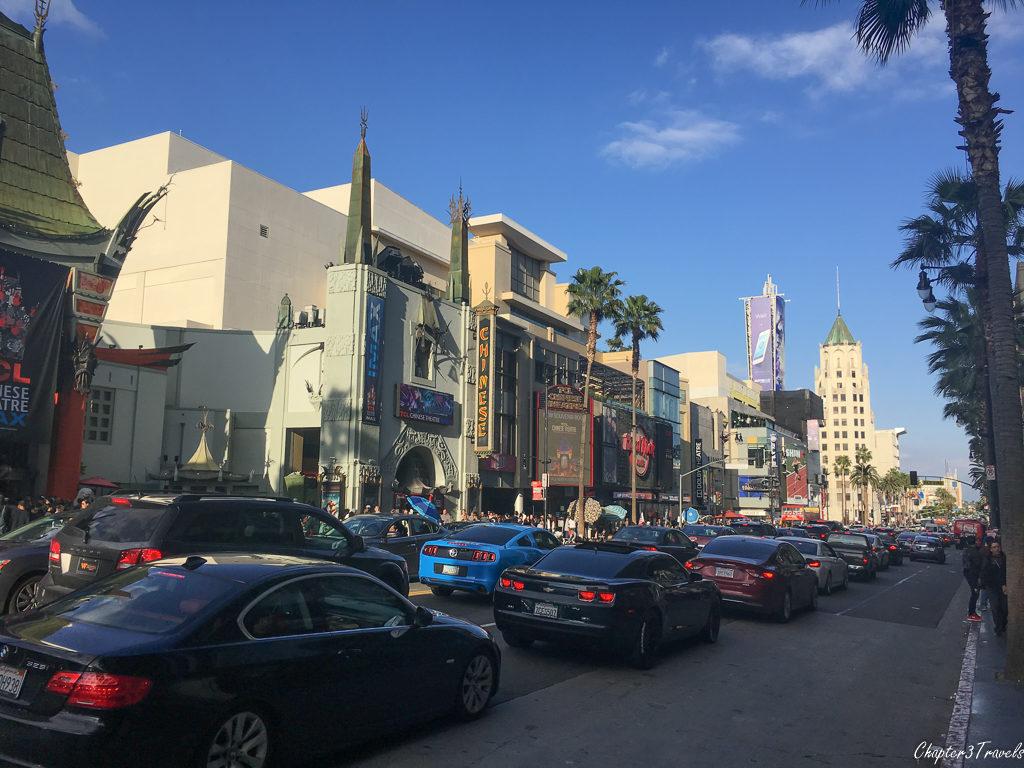 Traffic on Hollywood Boulevard