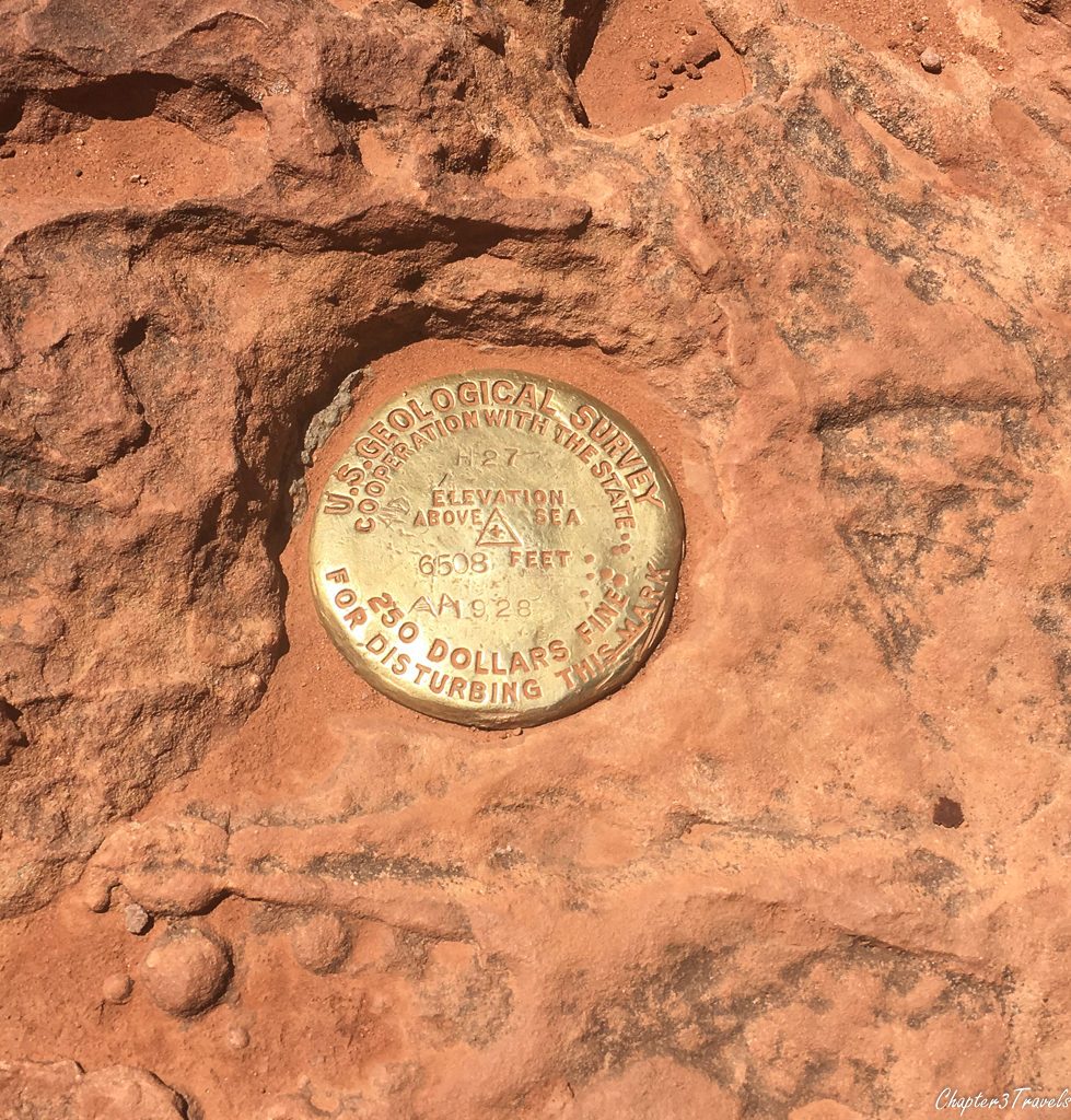 U.S. Geological Survey marker at the top of Observation Point