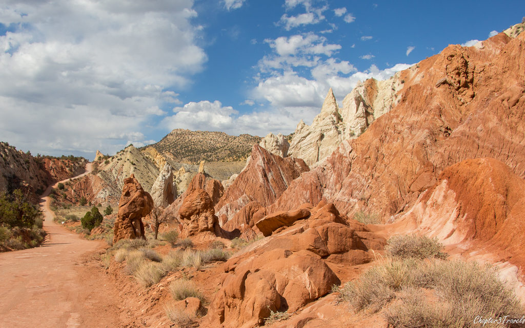 Colorful rock formations on Cottonwood Canyon Road in Gland Staircase Escalante National Monument