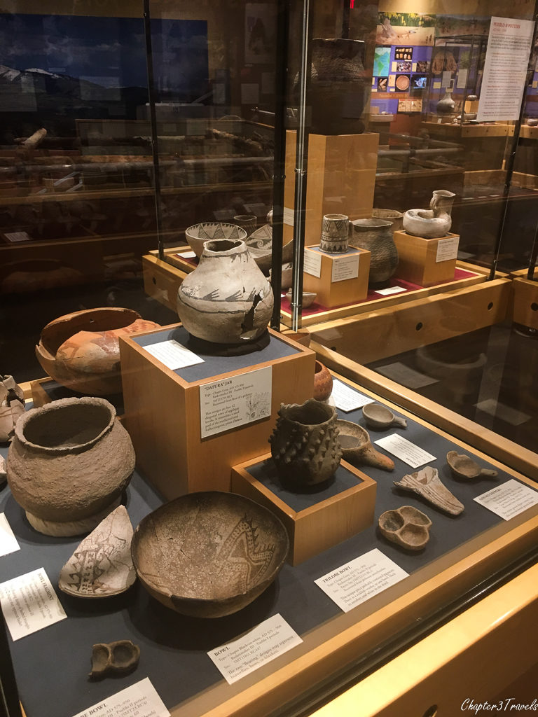 Display of pottery at Anasazi Heritage Center