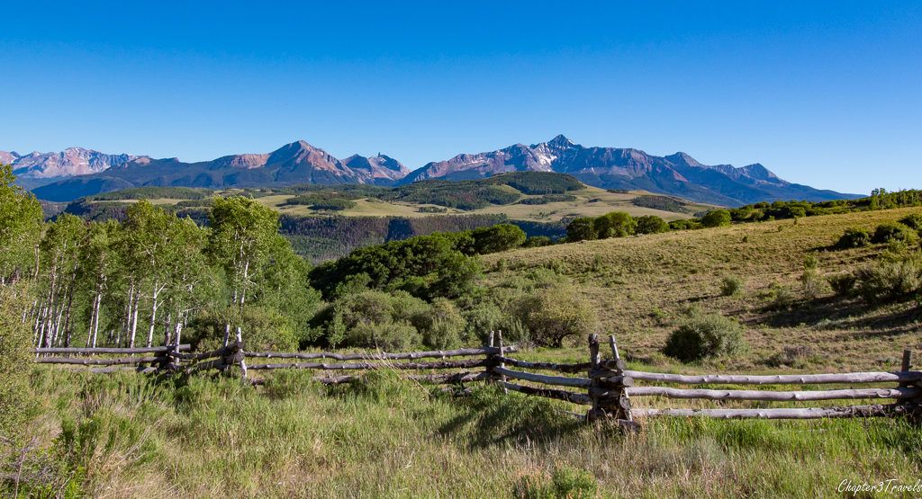 View of ranch from Last Dollar Road, Ridgway to Telluride, Colorado