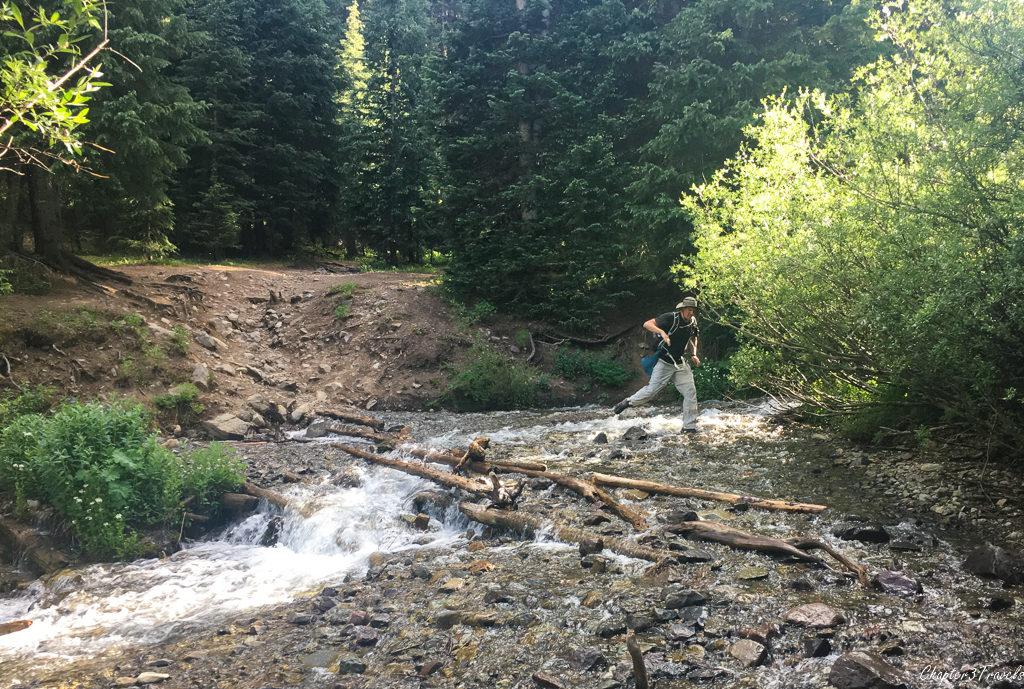 Creek crossing on the Blue Lakes Trail in Mount Sneffels Wilderness, Colorado