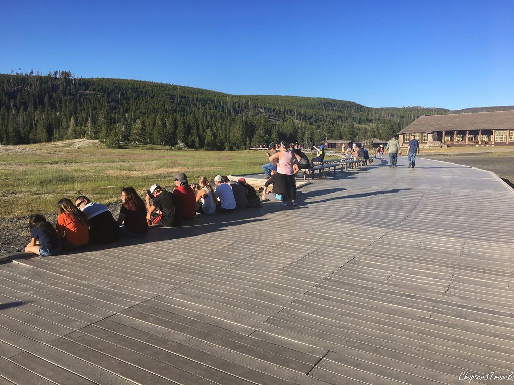 The viewing area at Old Faithful