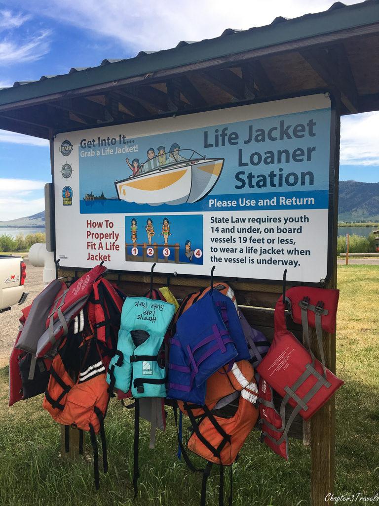 Life jackets at Henrys Lake
