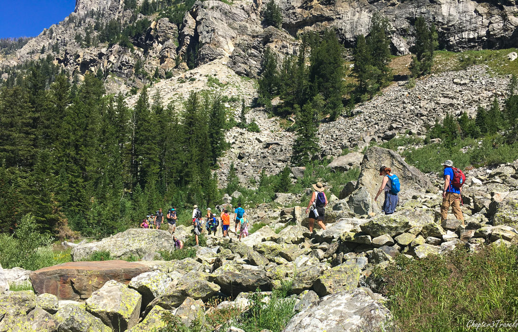 Crowds of hikers on the Cascade Canyon Trail at Grand Teton National Park
