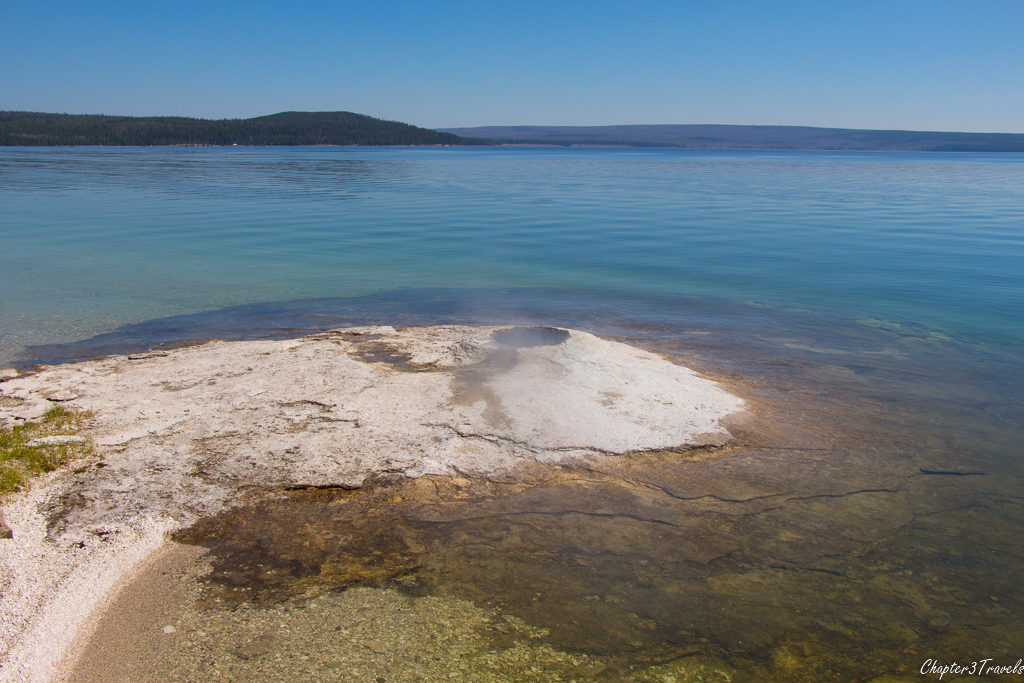A steam vent in Yellowstone Lake