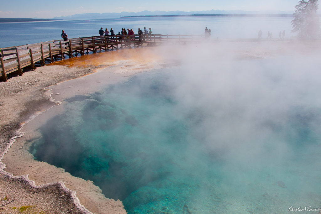 A hot spring in front of Yellowstone Lake