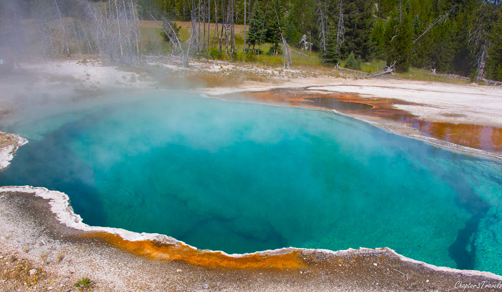 Bright blue hot spring at Yellowstone National Park