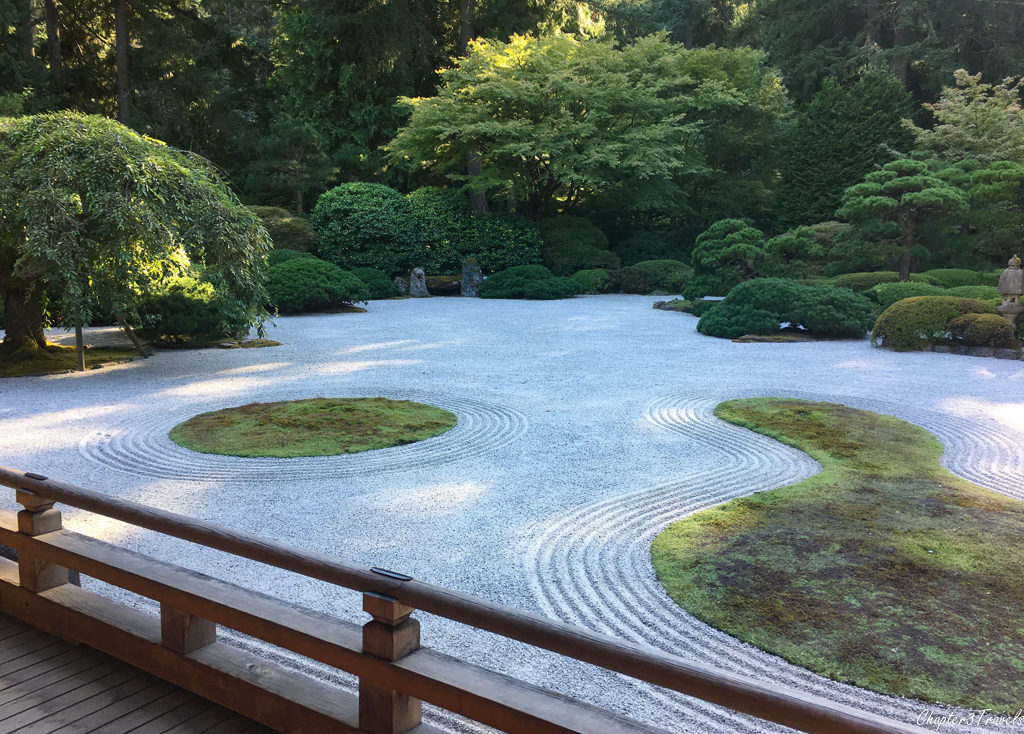 The flat garden at the Japanese Gardens in Portland, Oregon