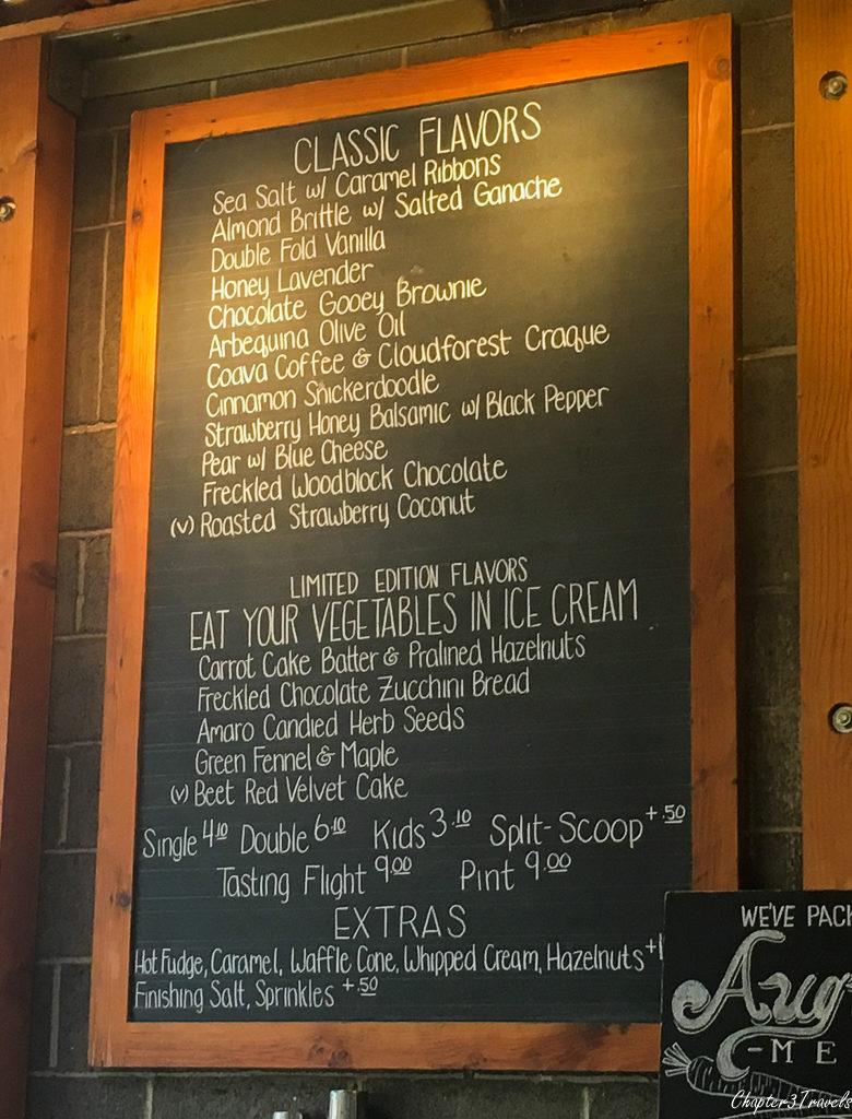 The menu at Salt and Straw in Portland, Oregon