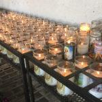 Candles burning at the San Xavier del Bac Mission