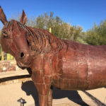 Metal sculpture of a horse at the Tohono Chul Garden in Tucson