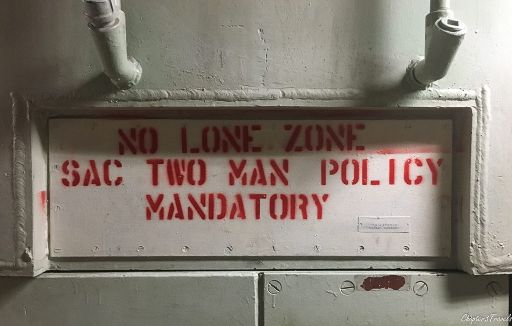 """No Lone Zone"" sign on wall at Titan Missile complex"
