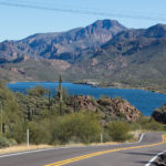 The Apache Trail road passing by Canyon Lake